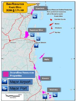 Figure 1. Tanzanian coastline showing key projects and infrastructure.