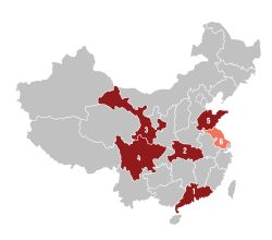 Figure 1 - map showing provinces in China covered by SmartPay platform