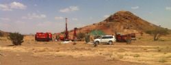 Drill rig set up at Washihi near gossan hill