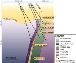 Figure 2. Cross-section (looking north) through the Chameleon gold deposit showing the location of the main gold lode relative to host geology. The section contains drill intercepts within +/-35m of the section plane. See MEP announcement, 29th July 2016 for section location.
