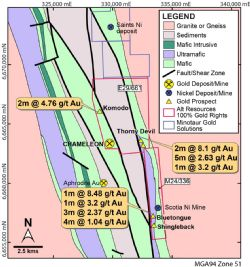 Figure 3. Map of the Chameleon licences E29/661 and M24/336, showing the distribution of gold prospects relative to the Chameleon and Aphrodite gold deposits, as well as major lithologies and structures. Significant intercepts are also shown from historical drilling, as described in the text.