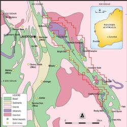 Figure 2: Regional geology map of Merolia Gold Project near Laverton WA, showing tenement package and main gold anomalies.