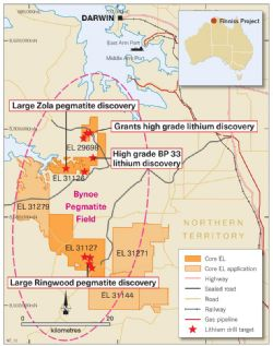 Figure 3. Core's Finniss Lithium Project and pegmatite drill targets near Darwin, NT.