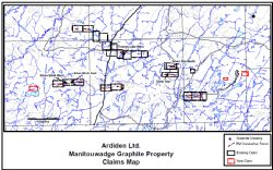 Figure 4. Claims map for Manitouwadge Graphite project, highlighting the Silver Birch and Silver Star North