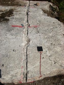 Figure 8. The 4.9m wide lithium mineralisation zone at Channel 4 on the Root Lake pegmatite.