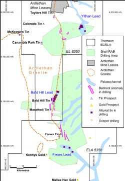 Figure 1:Ardlethan South area, showing historic drilling.