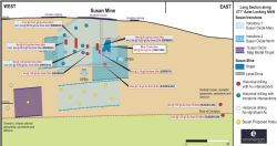 Figure 3. Susan long section showing all drilling with gold intersections