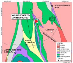 Figure 1. Location map of the Mt Roberts-Cottee Project near Leinster and the Agnew Gold Camp in Western Australia.