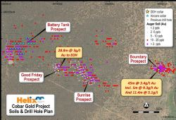 Figure 1: Location of advancing gold prospects in the historic goldfield at the Cobar Gold Project