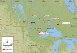 Figure 1. Location of Ardiden Projects (Wisa Lake Lithium, Seymour Lake Lithium, Root Lake Lithium, Root Bay Lithium and Manitouwadge Graphite) in Ontario, Canada. All projects are able to be serviced from Thunder Bay.