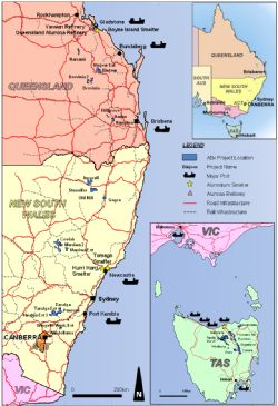 ABx Project Tenements and Major Infrastructure in Tasmania, NSW and Qld, Eastern Australia