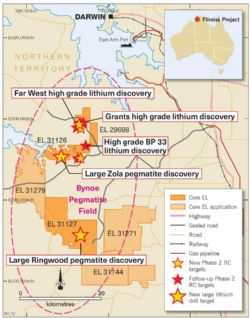 Figure 1. Drill target locations, Finniss Lithium Project near Darwin, NT.