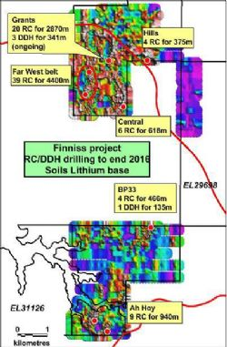 Figure 2. RC and Diamond drilling overlain on lithium in soils, Finniss Project, NT