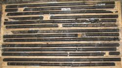 Drill core (MW-16-06) showing substantial graphite mineralisation