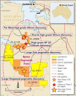 Figure 1 Core's large, 100%-owned granted tenure position within the lithium rich Bynoe Pegmatite Field near Darwin NT.