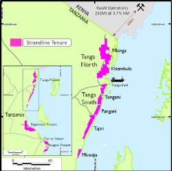 Strandline's large HMS tenure position in the Tanga region