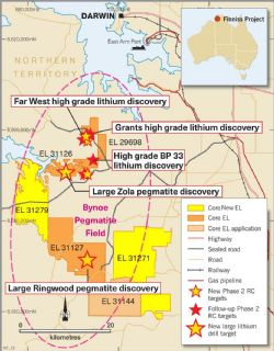 Core's large, 100%-owned granted tenure position within the lithium rich Bynoe Pegmatite Field near Darwin NT.