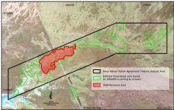 Current resource area (red) compared to known mineralised region (green) (From TOE:ASX 3/3/2009)