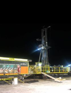 Figure 2.1: Maricunga Sonic drill rig working at night