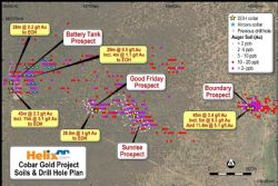 Location of four advancing prospects at the Cobar Gold Project (Yellow stars represent location of diamond holes in current program).