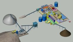 3D schematics showing the proposed processing plant layout.
