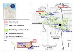 Location of the Rover Project and Emmerson's 100% owned Tennant Creek Mineral Field Project