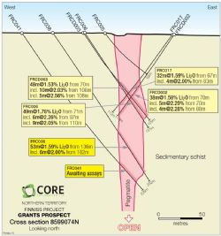 Cross-Section 8599074N, Grants Prospect, Finniss Lithium Project, NT.