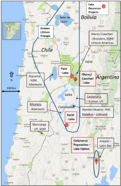 Figure 1: Location of Lake Projects in Argentina in relation to other lithium projects