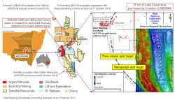 Map and geophysics illustrating the strategic location of the Argent West Wyalong project