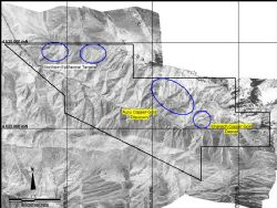 Project Map: showing Chanach license outline and location of the Aucu gold discovery 2.5 km to the NNW of the original Chanach copper deposit.