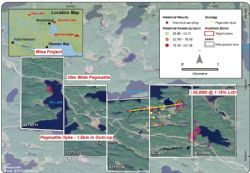 Overview map of historical exploration results at the Wisa Lake Lithium Project.