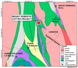 Location of the Mt Roberts-Cottee Project near Leinster and the Agnew Gold Camp in Western Australia.