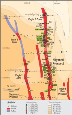 Hayanmi Prospect plan view showing gold trends and recent air core drill holes