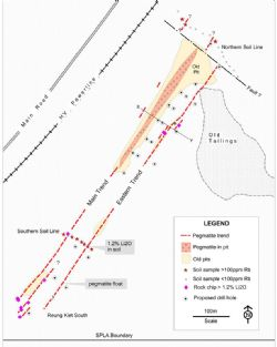 Fig. 2: Reung Kiet Lithium Prospect, Sampling and Planned Drilling.