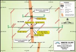 Plan view of East Burtville drilling showing hole locations with drill direction mineralisation and interpreted quartz structure.