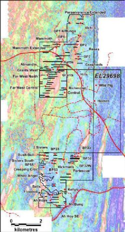 Pegmatite drill targets proximal to Grants overlain on new magnetics