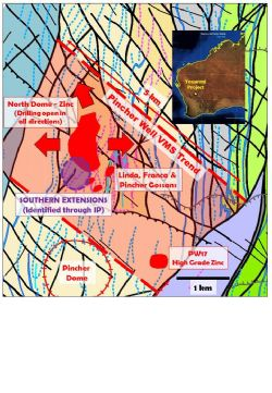 Figure 2– Interpreted Pincher Well geology with prospects, mineralisation defined by drilling (red) and recently drill tested IP target (purple).