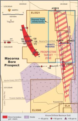 Plan view of Macorna Bore Project (EL5521and EL5508) showing projected Whitelaw Fault Corridor and arsenic geochemistry.