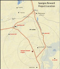 Spargos Reward Project Location Plan showing proximity to existing gold operations