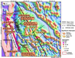 Mt Roberts gold project showing significant drilling results, rock chip results from mapping carried out in March this year, and interpreted shear zones over magnetics.