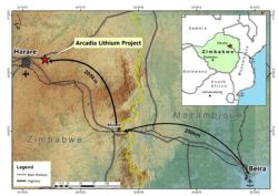 Location of Arcadia Lithium Project