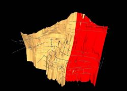 Oblique view of the Maria Vein wireframe with historic drives shown in grey, the Dubbo Zone is shown in red.