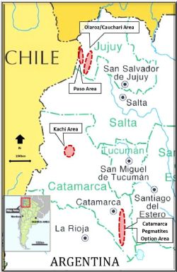 Location map of Lake's Lithium Projects in Argentina