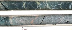 AWN001 drill core at 282.1 metres (upper image) and 283.0 metres (lower image): 40 cm core lengths