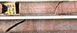 AWT005 drill core at 323.6 metres (upper image) and 324.5 metres (lower image): 30 cm core lengths
