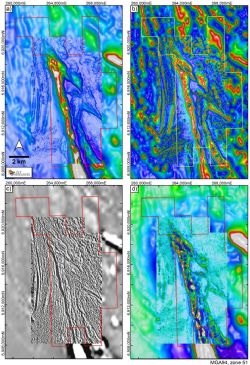 Selected images showing the Jubilee Mines aeromagnetic data set, subject to new data processing and filtering methods.