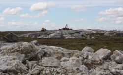 Diamond Rig at James Bay, Quebec. View to the south - pegmatite dykes outcrop to +30m above the surrounding muskeg.