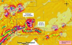 Plan view of the Pickle Lake West Property showing the numerous EM anomalies (Image sourced from White Metal Resources Corporate Presentation, January 2017)