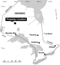 Location of the Pickle Lake Gold Properties in Ontario, Canada.