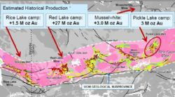 Overview map showing the Canadian Greenstone Belt and substantial gold mineralisation (Image sourced from White Metal Resources Corporate Presentation, January 2017)